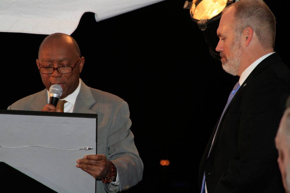 Mayor Sylvester Turner reads the City Proclamation recognizing the work of Combined Arms in Houston with Kelly Land, executive director of the organization, next to him during an event that was held on January 26th.