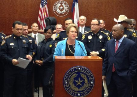 District Attorney Kim Ogg announced the diversion program during a press conference held at the Harris County Criminal Justice Center, where she was accompanied by Houston Mayor Sylvester Turner and Harris County Sheriff Ed Gonzalez, among others.