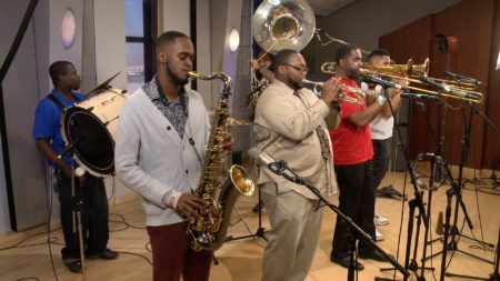 The New Orleans Hustlers Brass Band performs in the Geary Studio