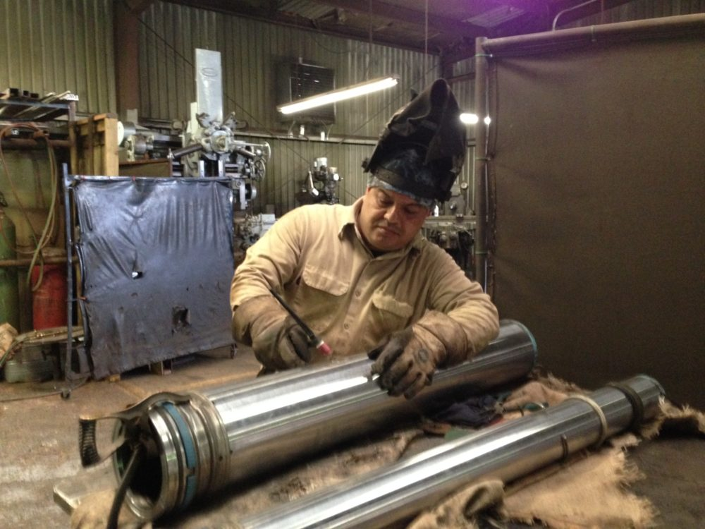 Antonio Luviano works at a metal workshop located in north Pasadena and says he has seen several stray dogs in the area.