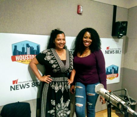 L-R: Poets Savannah Blue and Rain in the studio at HPM