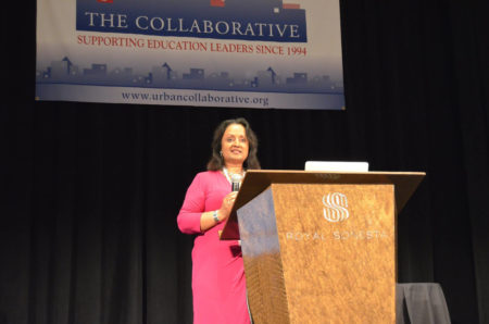 Former HISD Assistant Superintendent Sowmya Kumar addresses a convention for HISD.