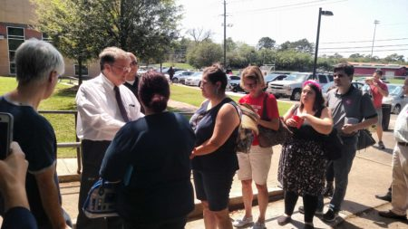 Constituents line up to speak to Congressman Culberson