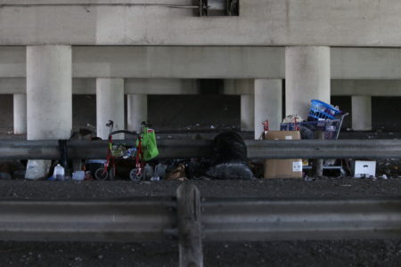 The potential ordinance about encampments would be aimed at situations like the ones this photo, taken at the intersection of I-45 and Cullen Boulevard, just south of downtown Houston, shows.