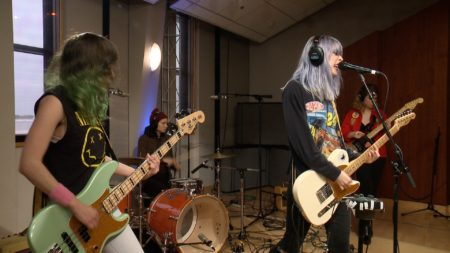 Potty Mouth performs in the Geary Studio