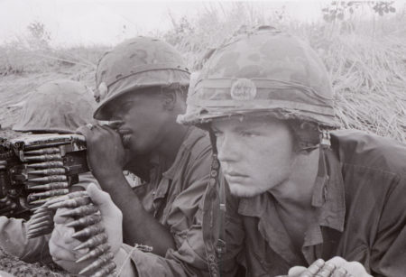 """November 20, 1967: OPERATION ESSEX - A Marine machine gun crew from """"G"""" Company, 2nd Battalion, 5th Marines, on Hill 170. Left to right: Private 1st class J.L. Duckworth, Corporal H.T. Hudson, and Private 1st class D.O. McPherson. Photo by: Cpl Aker"""