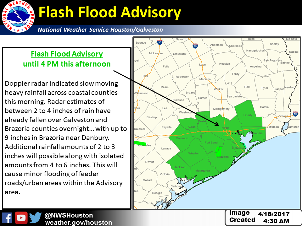 Flash flood watch in effect in Houston area counties through this afternoon