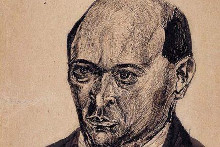 Self-portrait sketch of Arnold Schoenberg
