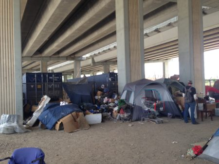 The ordinance bans living in tents placed in public areas like this underpass located at the intersection of Hamilton and Commerce, almost next to Minute Maid Park in downtown Houston.